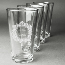 Tropical Leaves Border Beer Glasses (Set of 4) (Personalized)