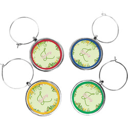 Tropical Leaves Border Wine Charms (Set of 4) (Personalized)