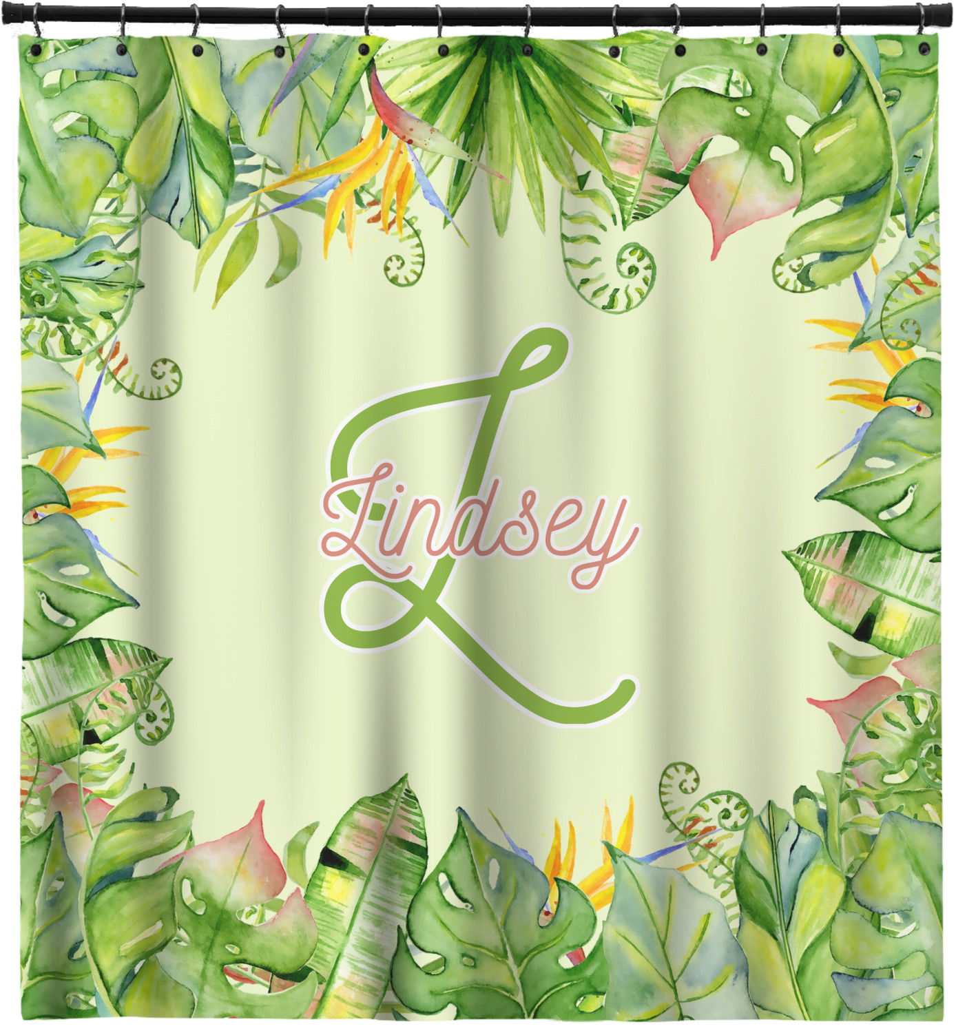 Tropical Leaves Border Shower Curtain (Personalized) - YouCustomizeIt