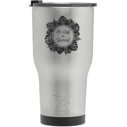 Tropical Leaves Border RTIC Tumbler - Silver - Engraved Front (Personalized)