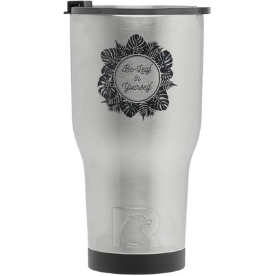 Tropical Leaves Border RTIC Tumbler - Silver (Personalized)