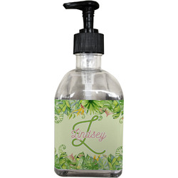 Tropical Leaves Border Soap/Lotion Dispenser (Glass) (Personalized)