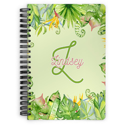 Tropical Leaves Border Spiral Bound Notebook (Personalized)