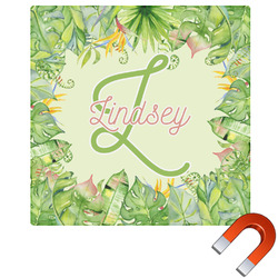 """Tropical Leaves Border Square Car Magnet - 6"""" (Personalized)"""