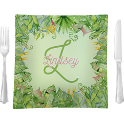 """Tropical Leaves Border 9.5"""" Glass Square Lunch / Dinner Plate- Single or Set of 4 (Personalized)"""