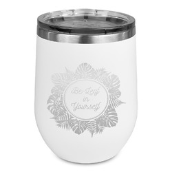 Tropical Leaves Border Stemless Wine Tumbler - 5 Color Choices - Stainless Steel  (Personalized)
