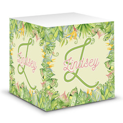 Tropical Leaves Border Sticky Note Cube (Personalized)