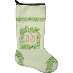 Tropical Leaves Border Christmas Stocking - Neoprene (Personalized)