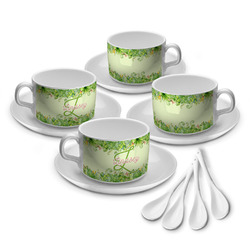 Tropical Leaves Border Tea Cup - Set of 4 (Personalized)