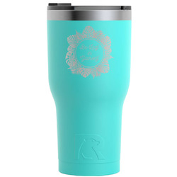Tropical Leaves Border RTIC Tumbler - Teal - 30 oz (Personalized)
