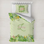 Tropical Leaves Border Toddler Bedding w/ Name and Initial