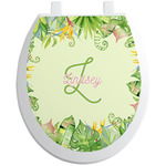 Tropical Leaves Border Toilet Seat Decal (Personalized)