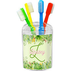 Tropical Leaves Border Toothbrush Holder (Personalized)