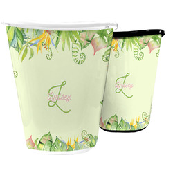 Tropical Leaves Border Waste Basket (Personalized)