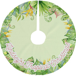 Tropical Leaves Border Tree Skirt (Personalized)