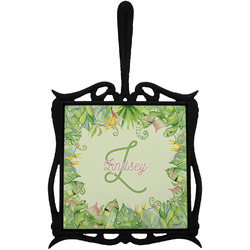 Tropical Leaves Border Trivet with Handle (Personalized)