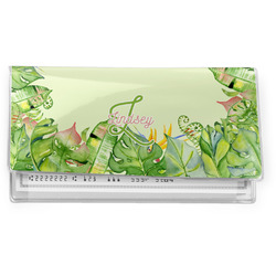 Tropical Leaves Border Vinyl Checkbook Cover (Personalized)