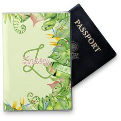 Tropical Leaves Border Vinyl Passport Holder (Personalized)