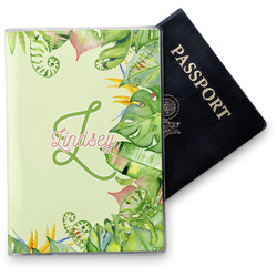 Tropical Leaves Border Vinyl Passport Holder (Personalized)