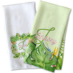 Tropical Leaves Border Waffle Weave Kitchen Towel (Personalized)