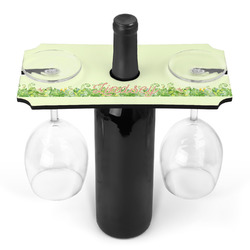 Tropical Leaves Border Wine Bottle & Glass Holder (Personalized)