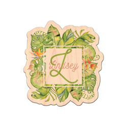 Tropical Leaves Border Genuine Wood Sticker (Personalized)