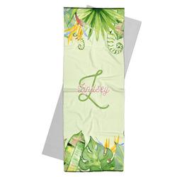 Tropical Leaves Border Yoga Mat Towel (Personalized)
