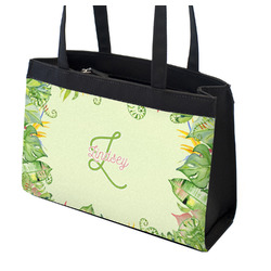 Tropical Leaves Border Zippered Everyday Tote (Personalized)