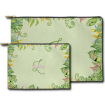 Tropical Leaves Border Zipper Pouch (Personalized)