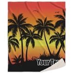 Tropical Sunset Sherpa Throw Blanket (Personalized)