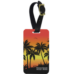 Tropical Sunset Metal Luggage Tag w/ Name or Text