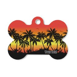 Tropical Sunset Bone Shaped Dog Tag (Personalized)