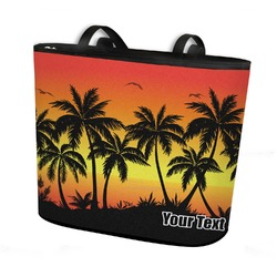 Tropical Sunset Bucket Tote w/ Genuine Leather Trim (Personalized)
