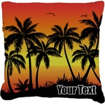 Tropical Sunset Faux-Linen Throw Pillow (Personalized)