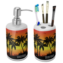 Tropical Sunset Ceramic Bathroom Accessories Set (Personalized)