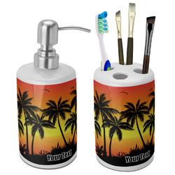 Tropical Sunset Ceramic Bathroom Accessories Set (Personalized)