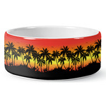 Tropical Sunset Ceramic Dog Bowl (Personalized)