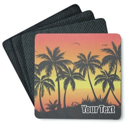 Tropical Sunset 4 Square Coasters - Rubber Backed (Personalized)