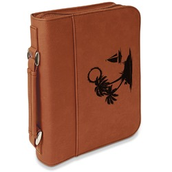 Tropical Sunset Leatherette Bible Cover with Handle & Zipper - Large- Single Sided (Personalized)