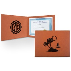 Tropical Sunset Leatherette Certificate Holder (Personalized)