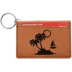 Tropical Sunset Leatherette Keychain ID Holder (Personalized)