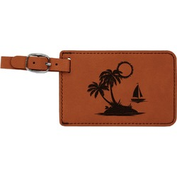 Tropical Sunset Leatherette Luggage Tag (Personalized)
