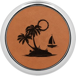 Tropical Sunset Leatherette Round Coaster w/ Silver Edge - Single or Set (Personalized)