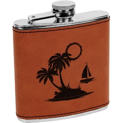 Tropical Sunset Leatherette Wrapped Stainless Steel Flask (Personalized)