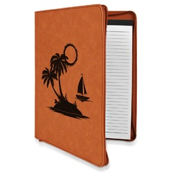 Tropical Sunset Leatherette Zipper Portfolio with Notepad (Personalized)