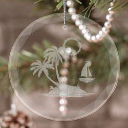 Tropical Sunset Engraved Glass Ornament (Personalized)