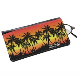 Tropical Sunset Genuine Leather Eyeglass Case (Personalized)