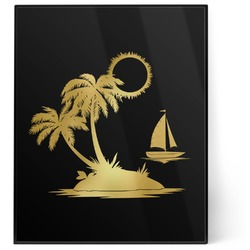 Tropical Sunset 8x10 Foil Wall Art - Black (Personalized)