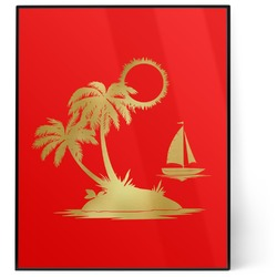 Tropical Sunset 8x10 Foil Wall Art - Red (Personalized)