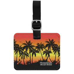 Tropical Sunset Genuine Leather Luggage Tag w/ Name or Text